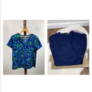 Koi Stretch Blue/Green Luna Print Top and Blue Lindsey Cargo Bottoms Scrubs Set